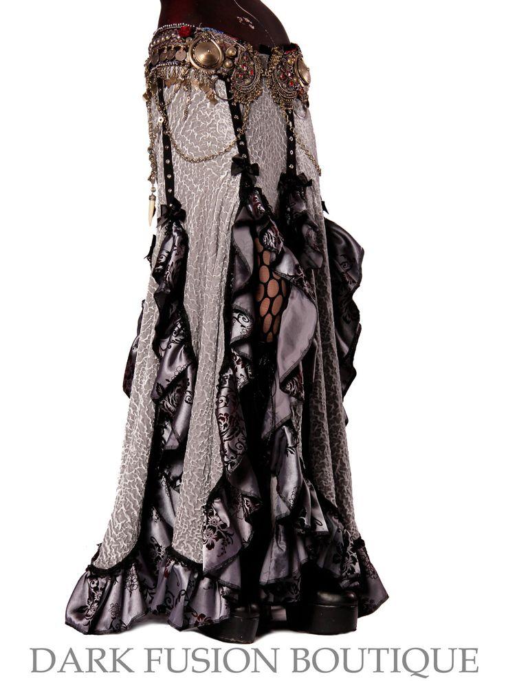 Skirt, Light Gray, Black, with Hints of Burgandy, Ruffles, Fusion, Noir, Belly Dance, Dark Fusion Boutique. $130.00, via Etsy.