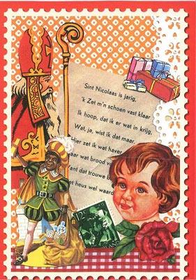 """Sint Nicolaas en zijn Maatjes; Leuke Vintage Stijl Prent/ Ansichtkaart, met het liedje """"Sint Nicolaas is jarig...""""."""