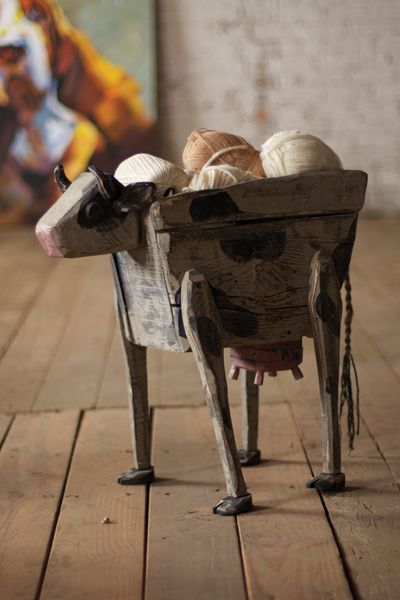 reclaimed wooden cow   $89.00