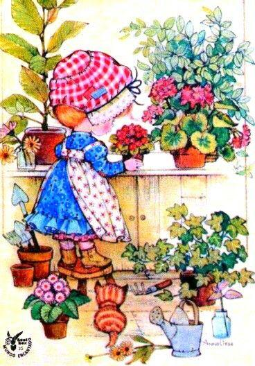 Vintage Sarah Kay illustration. Girl and kitten in the potting shed.