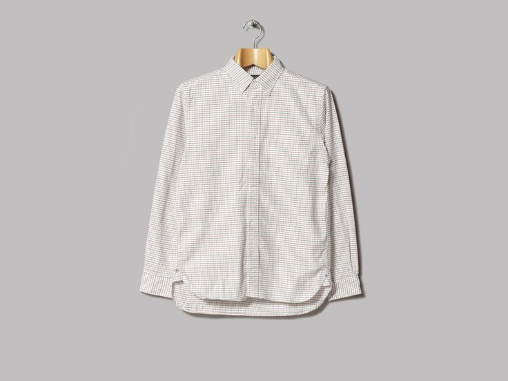 Beams Plus Button Down Tattersall Shirt (White / Red / Navy)