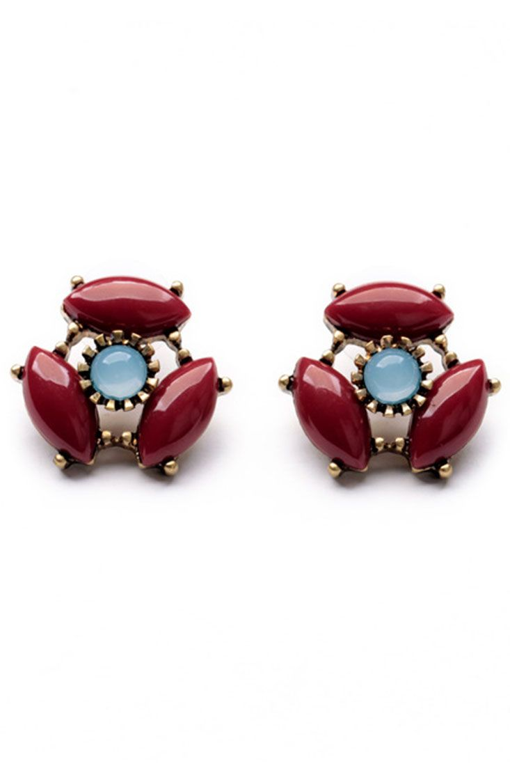 Vintage Round Faux Gemstone Earrings. The earrings featuring three burgundy ellipses round a blue crystal clear faux gemstone. Cute and vintage. pair it with a crop tee!
