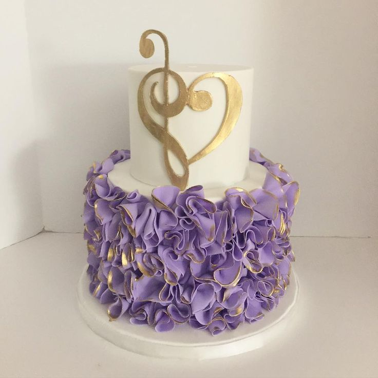 purple music and love cake; engagement party cake; purple lavender ruffles; gold; rooneygirl bakeshop
