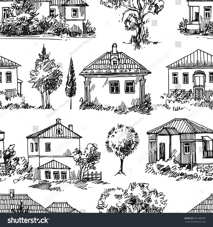 hand drawn vector seamless pattern with village houses and tree rh pinterest com