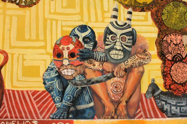 #Impulseearth #Valparaiso #Chile #Graffiti #Street Art #Faces #Painting #Creativity #Voodoo #Yellow #Mandala #Mask #Africa