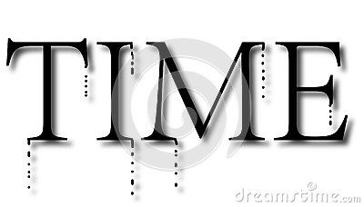 Word `time`is melting, time is running out, treasure time