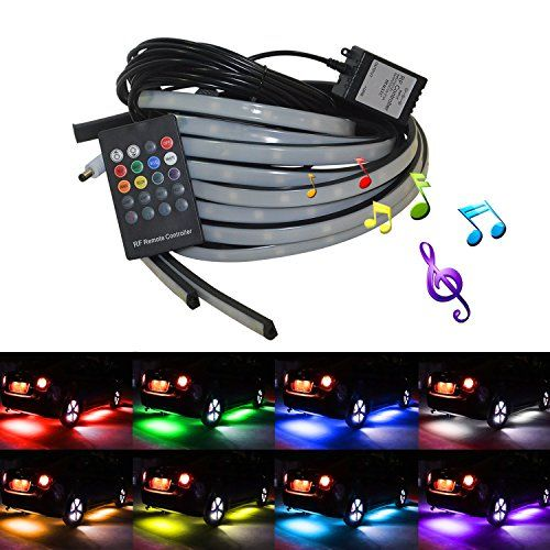 4 Pcs 12V Multicolor Car LED Underglow Light Kits, Ampper Waterproof Underbody Glow Bars LED Neon Strip Lighting with Sound Active and Wireless Remote Control. For product info go to:  https://www.caraccessoriesonlinemarket.com/4-pcs-12v-multicolor-car-led-underglow-light-kits-ampper-waterproof-underbody-glow-bars-led-neon-strip-lighting-with-sound-active-and-wireless-remote-control/