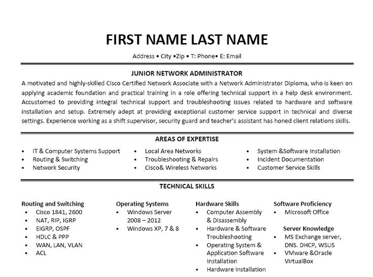9 best Best Network Administrator Resume Templates  Samples images - Network And Computer Systems Administrator Sample Resume