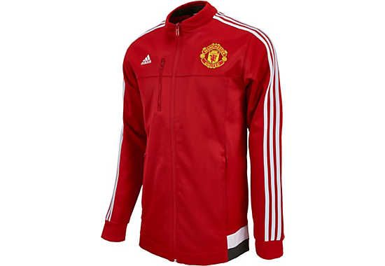 adidas Manchester United Anthem Jacket - Scarlet & White. Get it at www.soccerpro.com today!