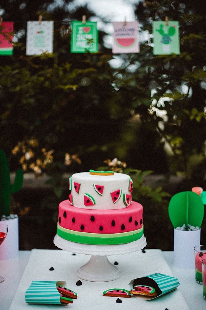"Watermelon party cake from this Watermelon Birthday Party at Kara's Party Ideas. So much more to see at karaspartyideas.com! Just click the ""visit"" tab to see it all!"