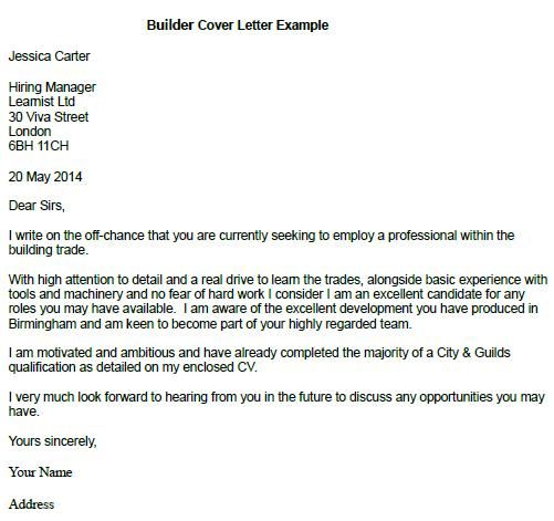 Builder Cover Letter Example