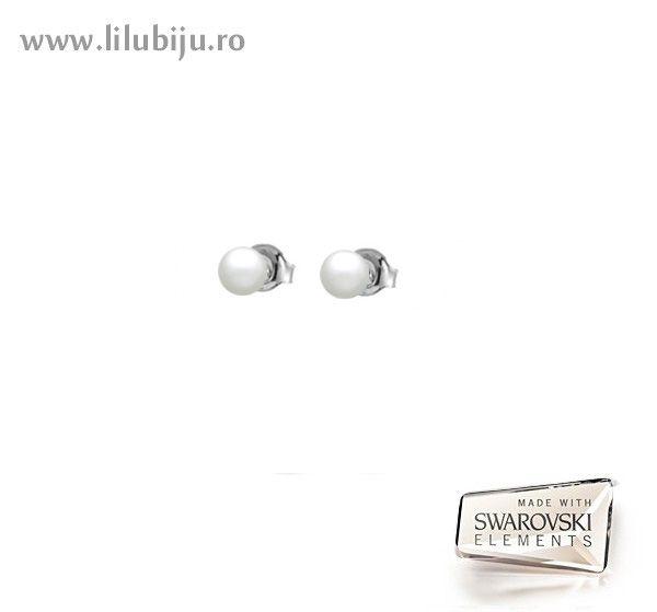 Cercei Swarovski Elements™ - Perle Alb Sidefat by LiluBiju (copyright)