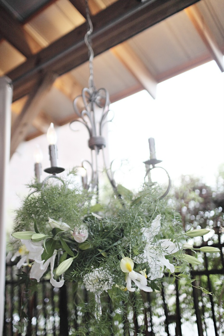 Chandelier White Floral Plant Lighting