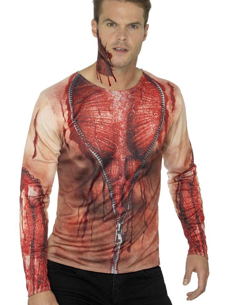 Printtipaita verinen paita. Lisää näyttävyyttä peruukeilla, keinoverellä ja maskeilla.