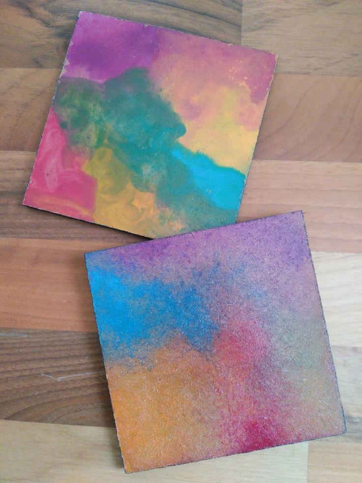 Watercolor (suluboya) ahşap bardak altlığı