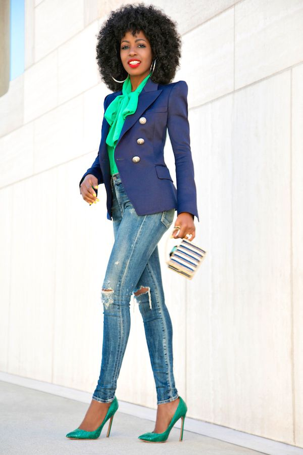 Style Pantry | Double Breasted Blazer + Front Tie Blouse + High Waist Jeans