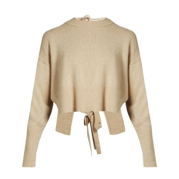 Khaite Renee tie-back cashmere sweater ($860) ❤ liked on Polyvore featuring tops, sweaters, beige, cropped cashmere sweaters, open-back tops, low cut crop top, brown crop top and cropped sweater