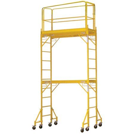 Pro-Series 2-Story Rolling Scaffold Tower, Yellow
