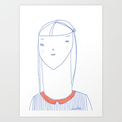 Orange collar Art Print by +karolina+skorka+ - $16.00