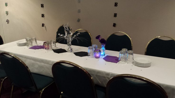 "Table decorations - one or two decorated jars + a small bottle with one or two flowers and scattered ""18"" confetti. I found some submersible LED tealights that made the bottles pretty."