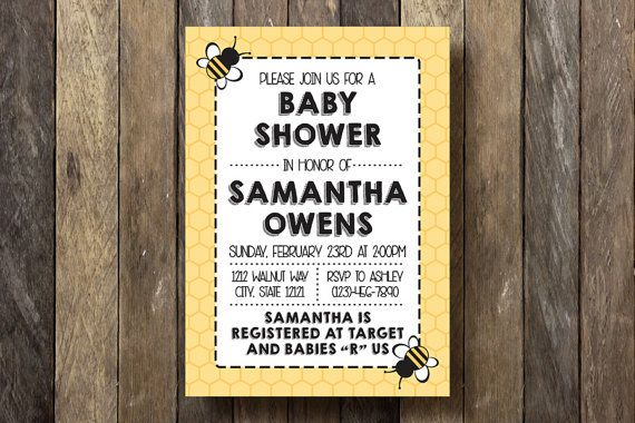 Bee Baby Shower Invitation  Printable  Bumble by TheLionAndTheLark