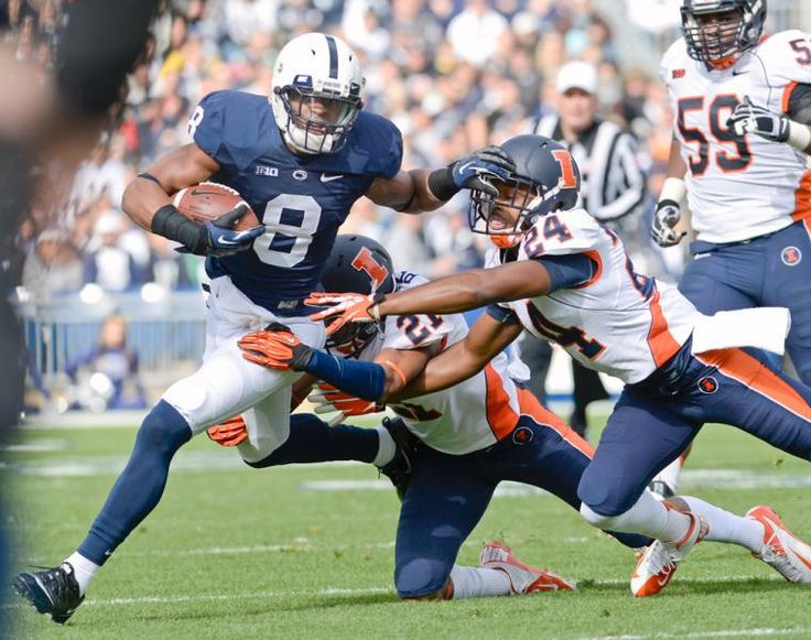 Penn State's Allen Robinson (6) tries to elude Illinois defenders Zane Petty (21) and Darius ...