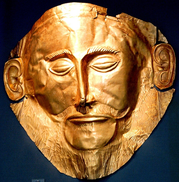 The Mask of Agamemnon which was discovered by Heinrich Schliemann in 1876 at Mycenae, now believed to pre-date the legendary Trojan War. Period: Bronze Age c. abt. 1194–1184 BC