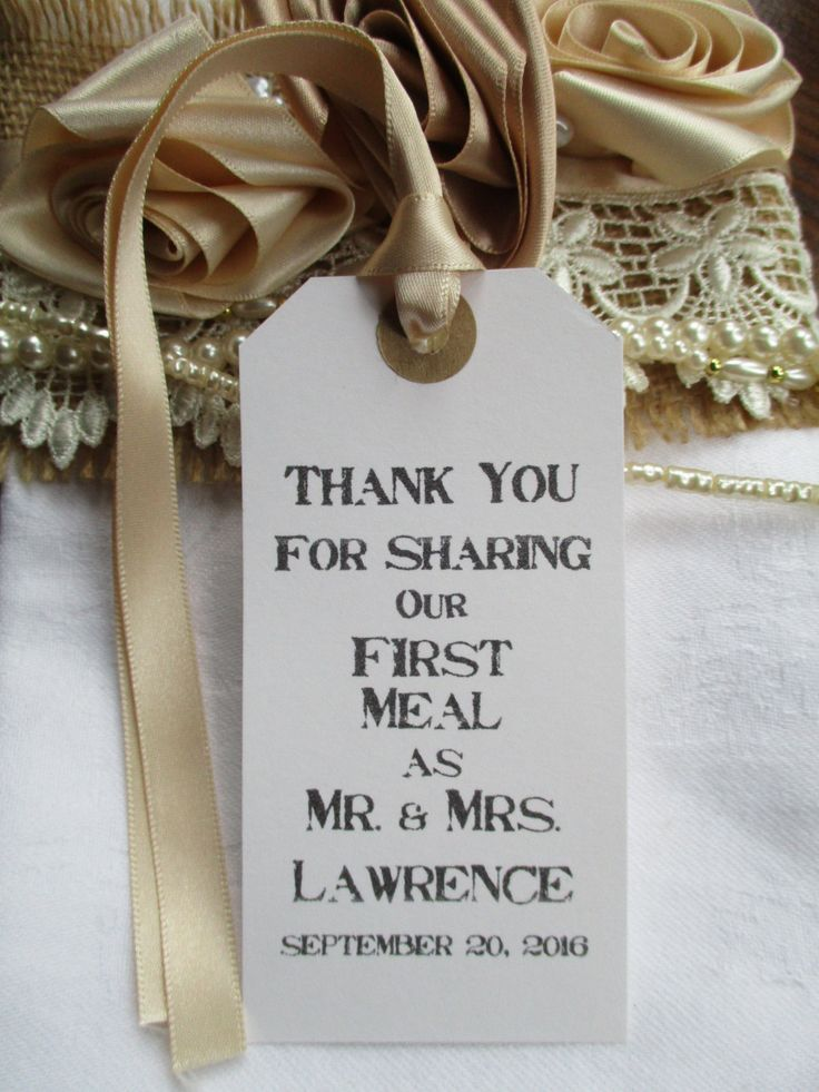 wedding custom thank you cards%0A Thank You for Sharing Our First Meal Rustic Wedding Table Decor Tags  White Personalised
