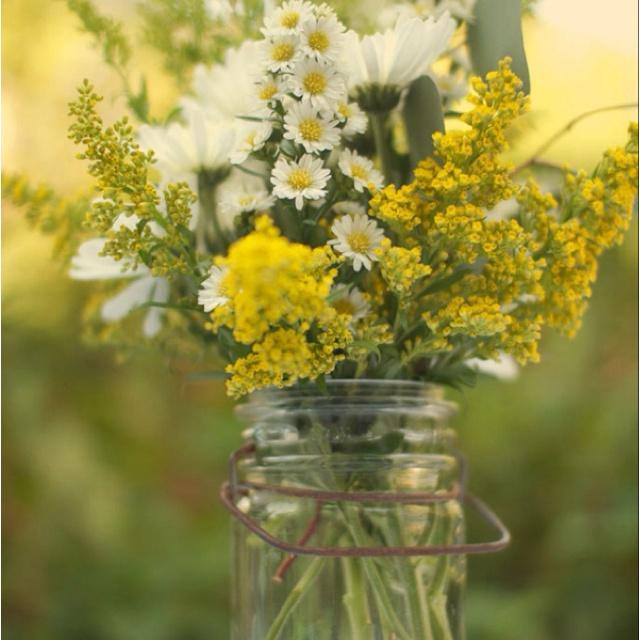 Wildflowers In Mason Jars Wedding Pinterest