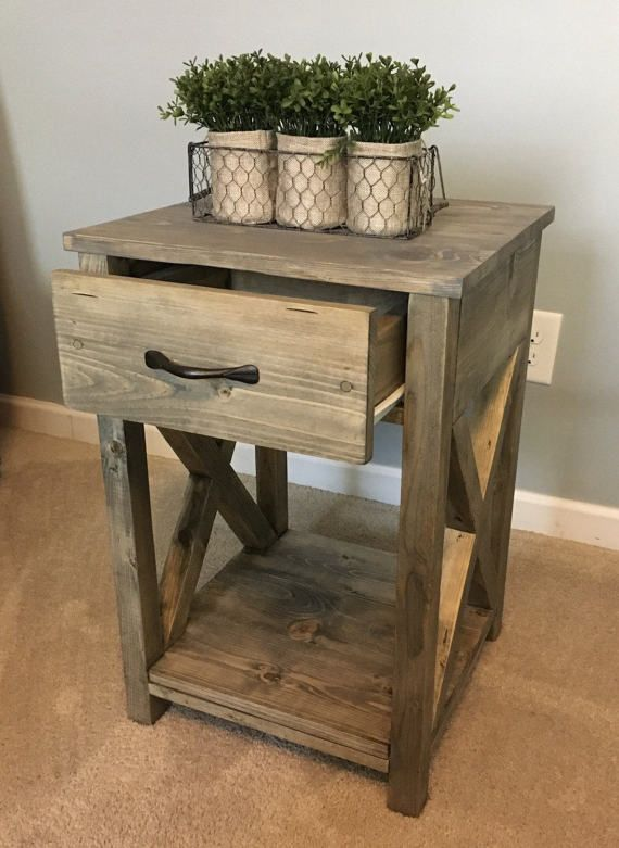 Nightstand Side Table End Table For The Home Bedroom Rustic Furniture Farmhouse End Tables Rustic Nightstand