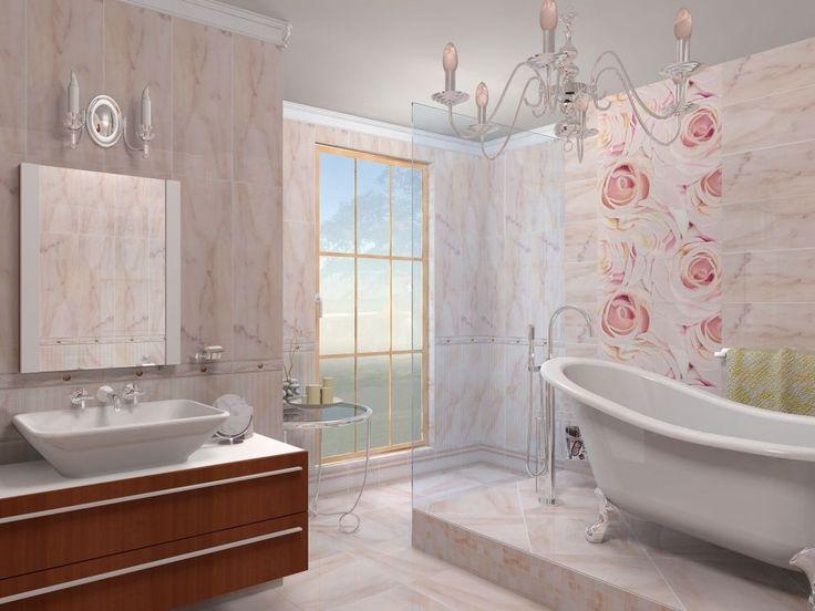 Изящная ванная комната в розовых тонах. Белая отдельно стоящая ванная на винтажных ножках, подвесная мебель с раковиной, а также резные аксессуары - придают уют и нежность ванной комнате. #отдельно_стоящая_ванная #винтажная_ванная #розовая_ванная_комната #подвесная_мебель