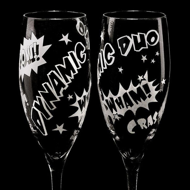 comic book inspired wedding invitations%0A Superhero Wedding Champagne Flutes for Comic Book Themed Wedding   www BradGoodellWeddings com