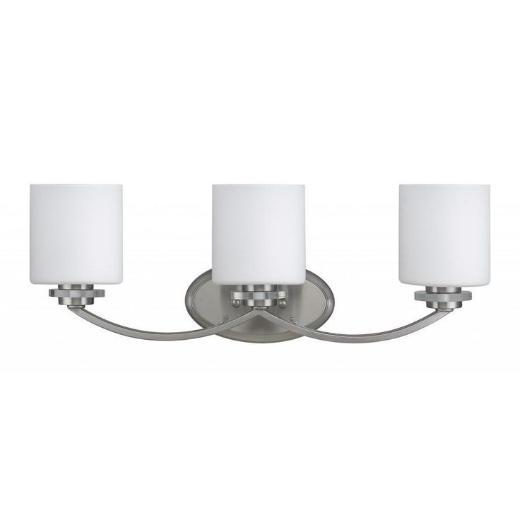 Chloe Transitional 3-light Brushed Nickel Bath/ Vanity Light, Silver (Glass)