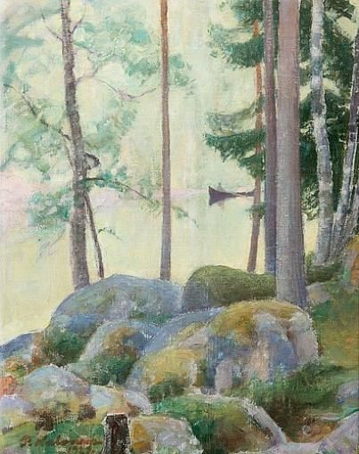 Pekka Halonen, A Lake Landscape, 1927, The Life and Art of Pekka Halonen - from http://www.alternativefinland.com/art-pekka-halonen/