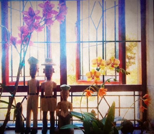 Windowscape with orchids and West African wood carvings.