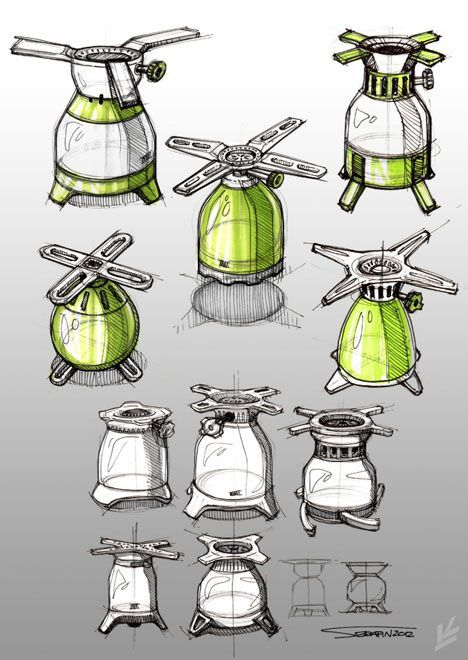 Sketches we like / Pencil / Green / Form Exploration / Outdoor Cooking / at plllus