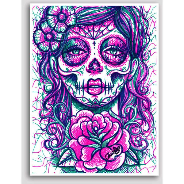 Day of the Dead Sugar Skull Girl Colorful Pop Art Neon Tattoo Poster... ❤ liked on Polyvore featuring home, home decor, wall art, dia de los muertos wall art, dia de los muertos poster, neon posters, colorful wall art and skull home decor