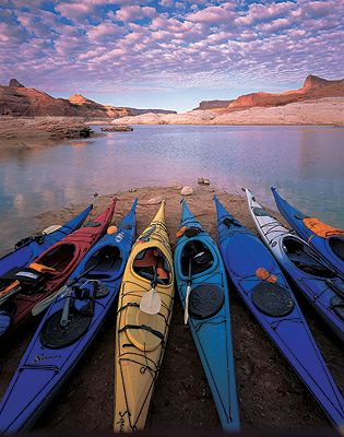 Kayaks, originally developed by native people to traverse subarctic waters, now used around the world--even in deserts.