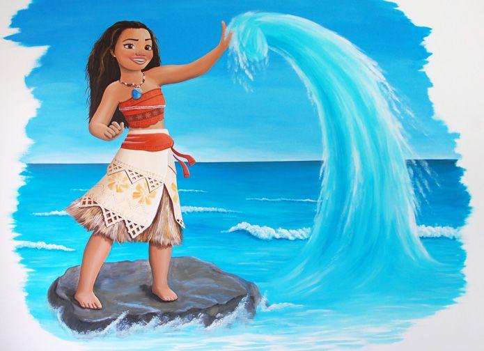 Vaiana wandschildering kinderkamer,  Disney prinses wanddecoratie voor een meisje,  gemaakt door BIM Muurschildering.  Disney princess wall decoration