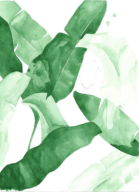"20 x 30 ""Beverly II"" Tropical Banana Leaves Watercolor Giclee Fine Art Print Poster"