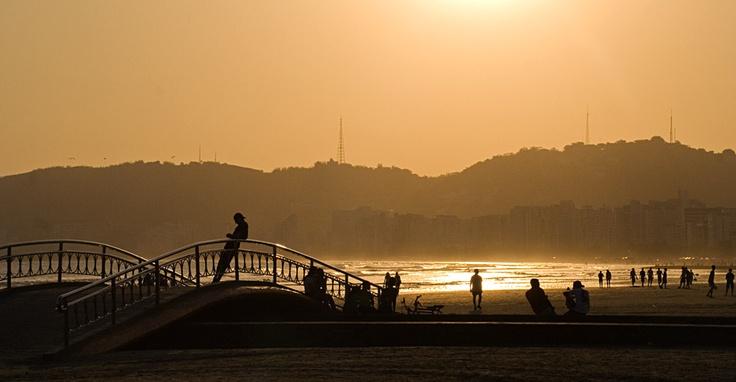 Pôr do sol, canal 6 - Santos