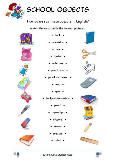 objetos em inglês