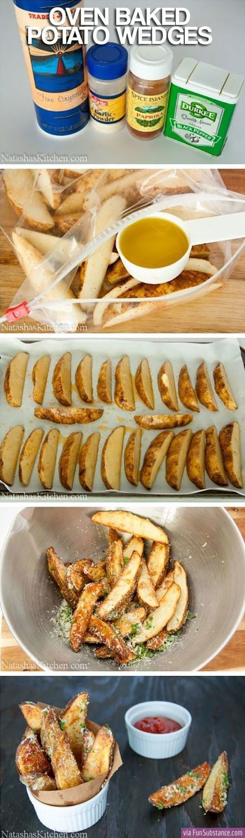 Preheat oven to 400 F. Scrub potatoes, cut them in half lengthwise, then cut each half in thirds . Place on sheet pan with all ingredients. toss all the ingredients together, making sure the potatoes are covered with oil. Spread the potatoes in a single layer with 1 cut-side down. Bake for 30 to 35 minutes, turning to the other cut side after 20 minutes. Bake until they are lightly browned, crisp outside, and tender inside. Sprinkle with salt and serve.