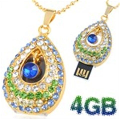 Teardrop Design 4GB Exquisite Necklace Style USB 2.0 Flash Memory Pen Drive Stick U Disk with Rhinestones