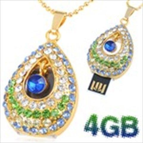 Teardrop Design 4GB Exquisite Necklace Style USB 2.0 Flash Memory Pen Drive Stick U Disk with Rhinestones