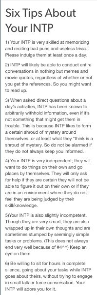 Six tips for your INTP. Basically how to care for yours. Haha too true
