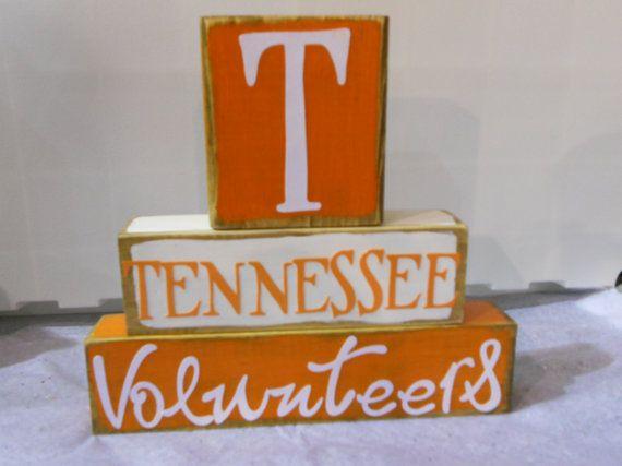 University of Tennessee Volunteer's Football Wood Block Decor