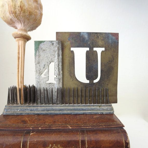 2 vintage stencils, 2 brass stencils. letter U, number 4, for you, 4 U. old stencils, metal stencils, sign makers stencils, art stencils