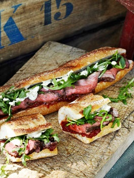 Rare roast beef baguettes with roast tomato and currant chutney