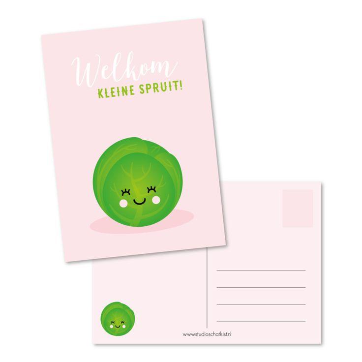 Kaart Welkom kleine spruit! roze Een kleine spruit geboren?  Geef ze een vrolijk welkom met deze kaart!